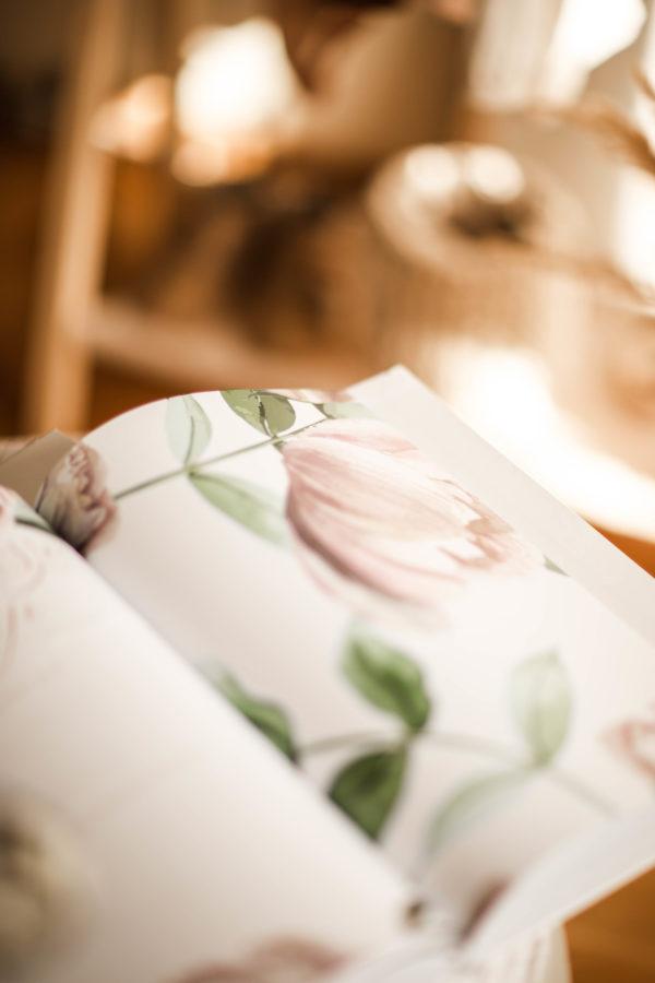 Pamiętnik personalizowany dla dziecka Peonie, kronika dziecka od narodzin
